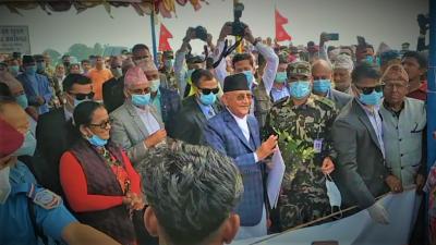 प्रधानमन्त्री केपी शर्मा ओलीद्वारा कमल खोलाको पुल उद्घाटन
