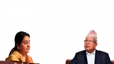 राष्ट्रपति विद्यादेवी भण्डारी र एमाले नेता माधवकुमार नेपालबीच भेटवार्ता