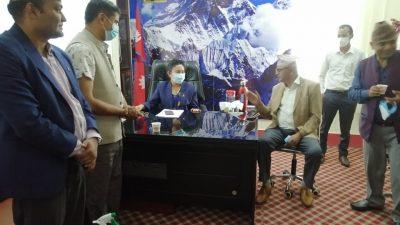 नेपाल खेलकुद महासंघद्धारा प्रदेश १ का सामाजिक बिकास मन्त्रीसंग भेटघाट